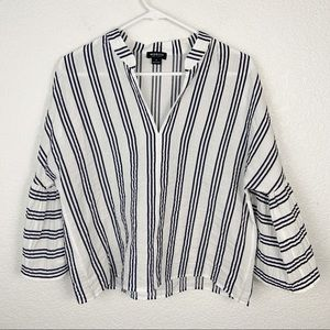 Worth New York Striped Bell Sleeve Top Petite